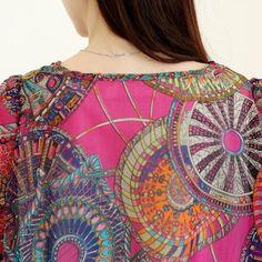 Bohemian Scoop Collar Full Pirnt Loose-Fitting Chiffon 3/4 Sleeve Women's Blouse