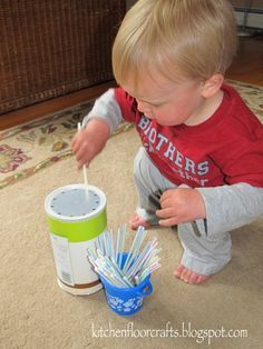 Kitchen Floor Crafts: Simple Straw Drop for Toddlers. A little late for Logan, but Collin will probably have fun with this. Activities For 1 Year Olds, Toddler Learning Activities, Games For Toddlers, Montessori Activities, Motor Activities, Infant Activities, Toddler Play, Baby Play, Toddler Preschool