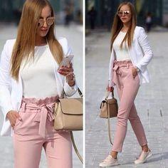 Long Pants with Bow Tie Waist Belt High Fashion Elegant Pink Women - Pants - Bottoms - Business kleidung damen - Damenmode Casual Work Outfits, Mode Outfits, Work Attire, Work Casual, Classy Outfits, Trendy Outfits, Casual Wear, Outfit Work, School Outfits
