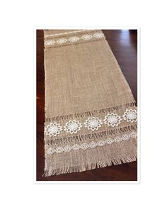 Burlap Table Runner  New Vintage Decor  Rustic Home/Wedding