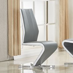d721120c620 Gia Dining Chair In Grey And White Faux Leather With Chrome Base