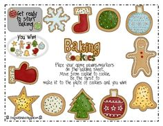 Baking Cookies Game Free Printable. Grades Pre-K-1st.