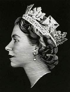 Engraved Queen Elizabeth Stamp Illustration by De La Rue
