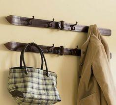 DIY coat rack from old ski