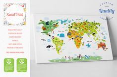 Any color world map canvas print free shipping home decor world nursery map of the world canvas print art free shipping woodland animals world map nursery world map nursery decor nursery canvas art gumiabroncs Image collections