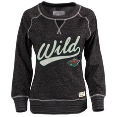 Women's Minnesota Wild Old Time Hockey Black Seneca Snow Fleece Crew Sweatshirt
