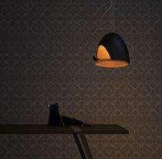 Suspension Oiseau / En plâtre Noir / Interieur Or - Compagnie