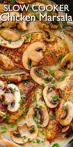 Creamy delicious mushroom packed chicken marsala prepared in the slow cooker! fancy enough for company but also a wonderful recipe for any night of the week slowcooker chickenmarsala slow cooker taco soup Crockpot Dishes, Crock Pot Cooking, Dinner Crockpot, Crockpot Meals, Crock Pot Dinners, Clean Dinners, Crock Pot Soup, Freezer Cooking, Easy Cooking