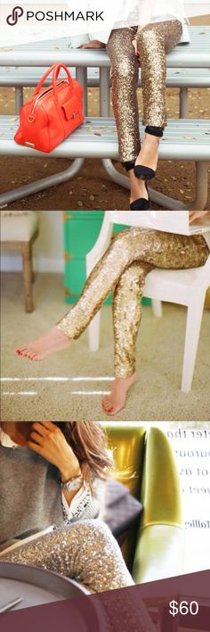 Gold sequin leggings perfect for the Holidays! Gold sequin leggings. Perfect for your holiday celebrations, New Years, girls night out, date night, and all your special occasions! Celebrate in style with these chic leggings. Look like a fashion blogger and glitter! Pants Leggings