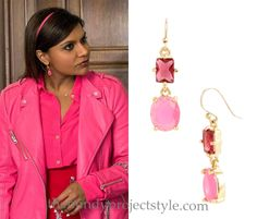 """Mindy's wearing these pink and red drop earrings with her lipstick embellished skirt in """"Stanford"""""""