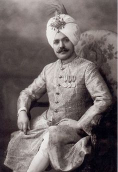 """The Maharaja of Kapurthala, Sirdar Charanjit Singh visited England in 1920, at which time this photograph was taken. It was mentioned in the Court Circular of June, 9 1920: """" Sirdar Charanjit Singh of Kapurthala gave a dinner party at Claridges Hotel last night to meet the Secretary of State for India Mr. Montague. The Sirdar proposed their health in a short speech, to which Mr. Montague responded."""""""