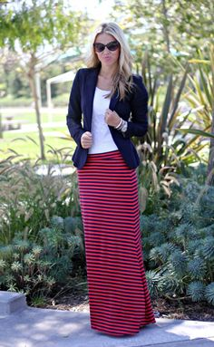 Maxi work edition. Recreate switching it up:  Spring '13 CAbi Maritime maxi(navy), white twist tank & yacht club jacket (poppy/navy stripe)