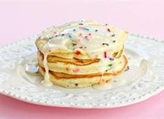 Just when you thought Saturday mornings couldnt get any better, these Cake Batter Pancakes enter the scene.