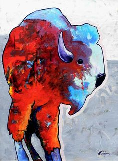 Wildlife Greeting Card featuring the painting Rainbow Warrior Bison by Joe Triano Native American Paintings, Native American Artists, Buffalo Painting, Rainbow Warrior, American Indian Art, Indigenous Art, Sale Poster, Wildlife Art, Find Art