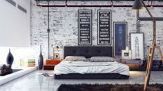 Stylish Masculine Bedroom Design White Brick Wall Combined Glass Wall Dark Brown Bed Using White Sheet Arch Llamp On Dark Brown Rug White Floor Tile Real House Design Mens Bedroom Decor Bedroom Mod Interior Design Manly Room Décor Ideas Industrial Bedroom Design, Industrial Interiors, Industrial House, Industrial Apartment, Industrial Chic, Vintage Industrial, Vintage Modern, Industrial Furniture, Furniture Decor