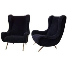 """Classically Elegant Zanuso """"Senior"""" Armchairs, mid-centery chairs, blue velvet, gold details,  contemporary chair, modern back armchair, hospitality design, custom furniture design, contemporary custom made upholstery, bespoke furniture design"""