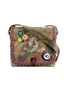 Bolsa messenger em tecido com efeito lavagem bordada - CHANEL