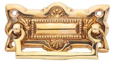 3 3/4 Inch (3 Inch c-c) Art Deco Solid Brass Drawer Pull (Lacquered Brass Finish)