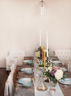 Rustic, elegant, inviting dinner table -apparently set by Ms. Gwyneth Paltrow.