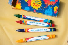 ART PARTY Personalized crayon favors with matching box by Cio Prints on Etsy - Jude's Pop Art Birthday Party! #lookieboo