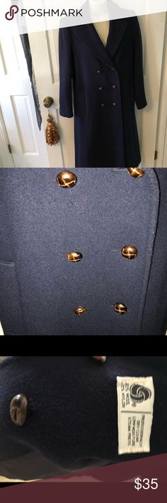 Raywood and Stein double rested Wool 🧥 Recently dry cleaned, pristine preowned condition!   Beautiful shade of navy, half belt in back for very flattering fit! Extra button included at bottom worn only twice! Size small Raywood and Stein Jackets & Coats Trench Coats
