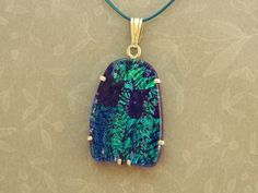 Green and Blue Dichroic Glass Pendant, Sterling Silver Setting  by Silvertree for $50.25