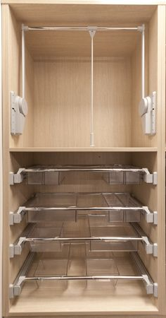 Ambos Pull Out Drawer Units are brilliant for accessory and small item storage. Combine with an Ambos lift to maximise space as seen in this sample wardrobe layout in the Merit Joinery showroom in Christchurch, New Zealand.