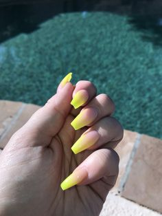 Neon yellow ombré nails