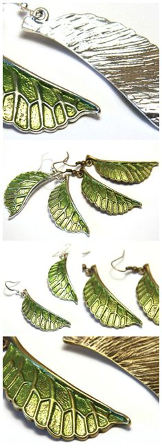 Green Leaves. Spring is here. Leaf Earrings. Saint Patrick's Day. Simple Modern Nature Jewelry. Bronze or Silver Earrings