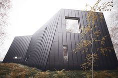 vacation-house-plans-a-frame-forest-house.  Love the standing seam siding.