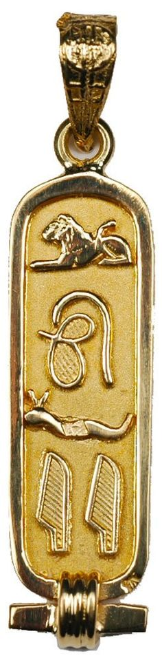 """18k Gold Cartouche Pendant with """"LOVE"""" in Hieroglyphic Symbols - Solid Style - Made in Egypt. Ancient Egyptian symbols that spell LOVE. Hand-Made in Cairo, Egypt - 1.5 inches long. In Stock and Ready to Ship with velvet bag and jewelry box. Includes a Hieroglyphic Alphabet chart. Optional gift wrapping available in our beautiful gold foil pyramid box."""