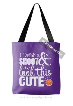 Dribble Shoot Look Cute Basketball Purple Tote Bag
