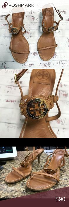 Tory Burch sandals with kitten heels In good condition, lightly used. Make an offer below :) Tory Burch Shoes Sandals