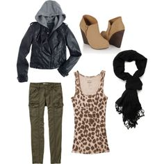 Warm multi-layer outfit for winter - patterned top and green pants.  I'd swap the green pants for jeans and the wedges for flats