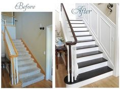 The Amazing Staircase Makeover Ideas 80 For Modern Decoration Design With Staircase Makeover Ideas Awesome Interior Room Painting Ideas and Diy Room Partitions Decorating Home Plan ikea small space modern decor wallpaper pictures Home Staging, Home Renovation, Home Remodeling, Staircase Makeover, Redo Stairs, Refinish Stairs, Stair Redo, Basement Stairs, Staining Stairs