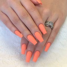 Pastel orange Nail Polish Inspirational 50 orange Nail Ideas to Make You Stun In Every Season In 2019 Orange Acrylic Nails, Orange Nail Polish, Summer Acrylic Nails, Orange Nails, Best Acrylic Nails, Gel Polish, Us Nails, Matte Nails, Hair And Nails