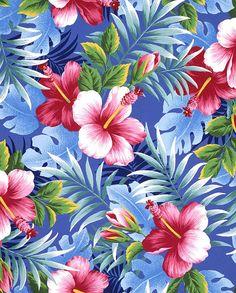 植物イラスト ハイビスカス、青い背景のパターン