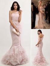 Trumpet Mermaid One-shoulder Pink Organza Ruffles Gossip Girl Prom Dress