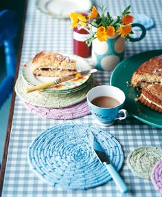 Hand-knitted placemats and coasters