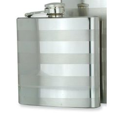 Polished and Brushed Stainless Steel 8oz Hip Flask Jewelry Adviser Gifts. $41.25