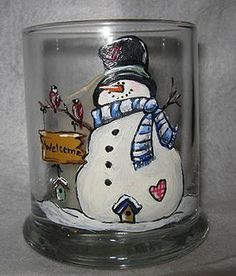 Here are some finished Holiday Glasses Contact me for more information if you are interested in these or any custom order glasses. Christmas Glasses, Christmas Wine, Christmas Items, Christmas Balls, Painted Glass Vases, Painted Wine Bottles, Painted Ornaments, Painted Porcelain, Snowman Crafts
