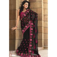 Black Faux Georgette Saree With Blouse. $106.99