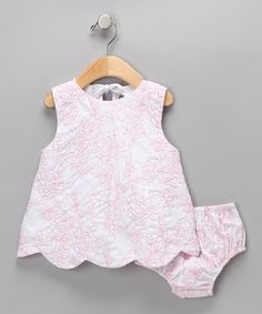 Pink Rose Scalloped Dress & Diaper Cover - Infant   Daily deals for moms, babies and kids