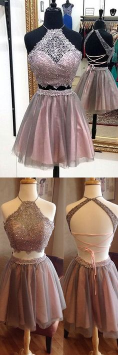 Sexy Two Piece Homecoming Dress, Blush Halter short Prom Dress, Above-knee Party Dress with Beading Lace