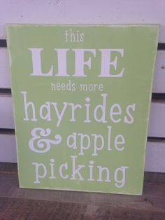 Hayrides and apple picking fall decor painted rustic sign apple green  on Etsy, $30.00