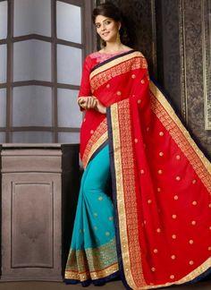 Red Embroidery Lace Mirror Work Georgette Designer Wedding Half Sarees http://www.angelnx.com/Sarees/Wedding-Sarees