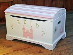 Toy Box, Toy Chest, Toy Storage - Hand Painted in Princess Theme