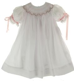 Hiccups Childrens Boutique - Infant Girls White Smocked Bishop Dress