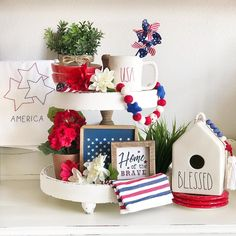 With Memorial weekend coming up I thought I'd put together a tiered tray for all those you have served our country and those that still… Fourth Of July Decor, 4th Of July Celebration, 4th Of July Decorations, July 4th, Summer Diy, Summer Ideas, Ray Dunn, Disney Sign, Tier Tray