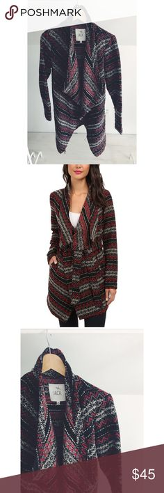 Jack by BB Dakota Tribal Print Wrap Jacket Wool and poly blend in a vibrant and beautiful woven tribal print. Wear open and drapey or tied up on a wrap style. Gorgeous color palette and the perfect statement piece for your wardrobe. Gently used with a few pulls in the fabric (nothing too noticeable), otherwise great condition. Jack by BB Dakota Jackets & Coats